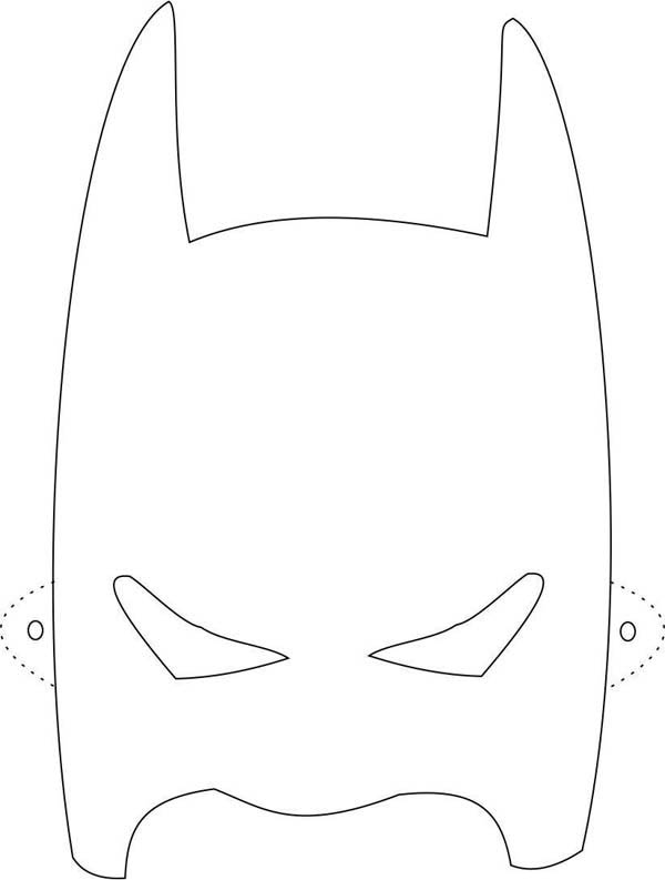 Batman Mask Coloring Page Of