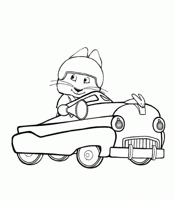 max and ruby printable coloring pages - max ride his cadillac in max and ruby coloring page