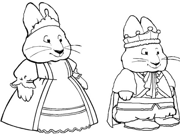 max ruby coloring pages - max and ruby play king and queen drama coloring page