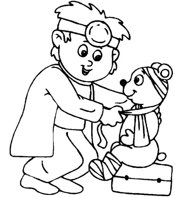 Medical Help for Cute Teddy Bear Coloring Page | Coloring Sky