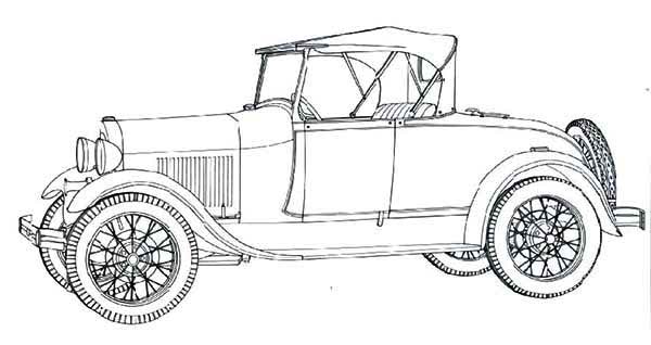 model ford classic old car coloring page  model ford