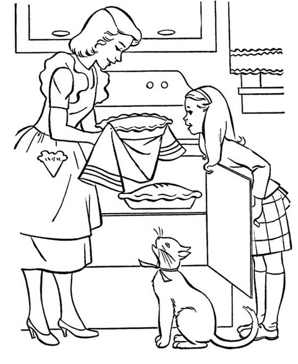 Moms Delicious Apple Pie Coloring Page