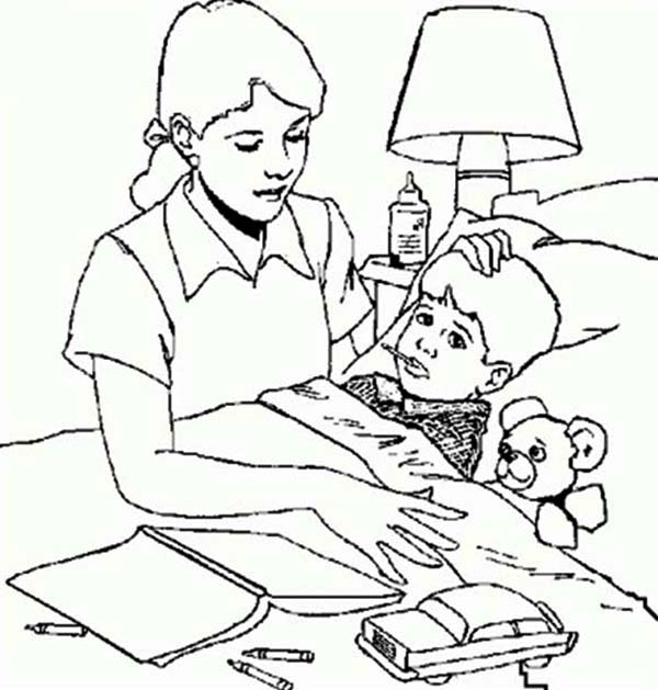 Moms Taking Care Sick Child Coloring Page