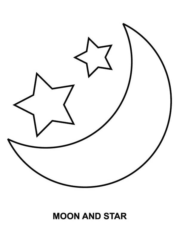 Moon And Star Coloring Page