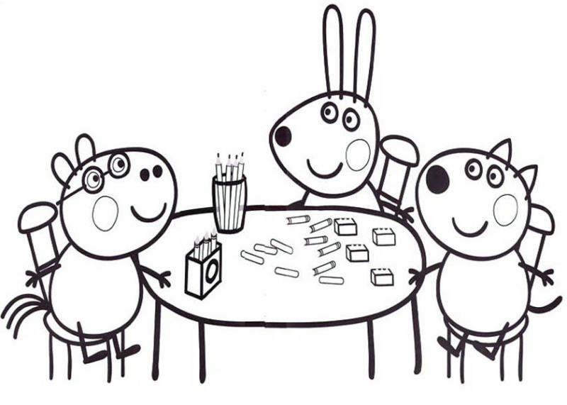 Peppa Pig Friends Studying Math Coloring Page: Peppa Pig Friends ...