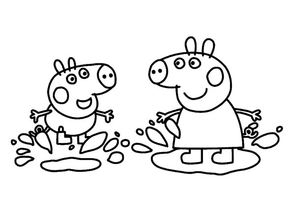 peppa pig peppa pig and george playing in the mud coloring page peppa pig - Peppa Pig Coloring Page