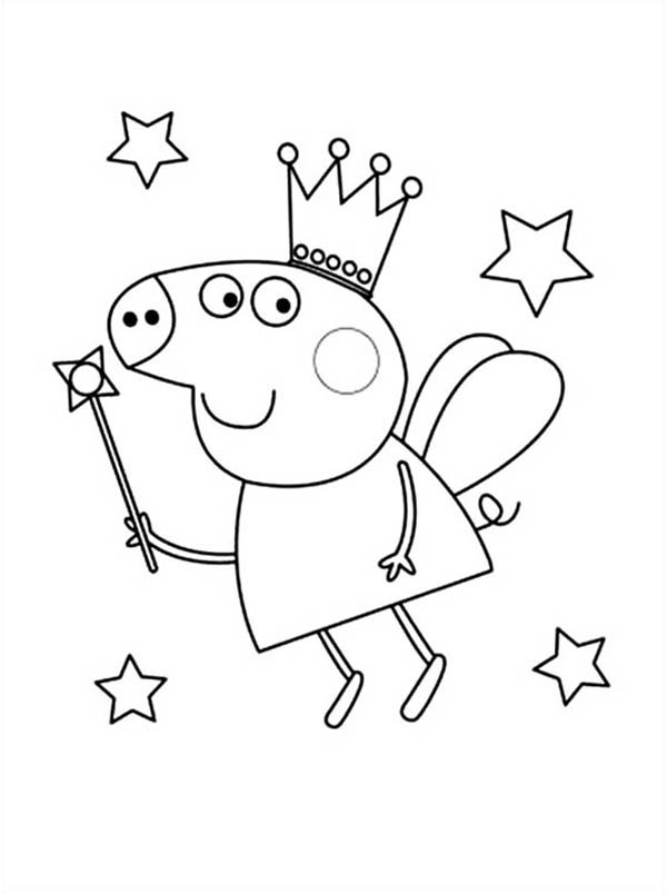 Peppa Pig, : Peppa Pig the Good Fairy Coloring Page