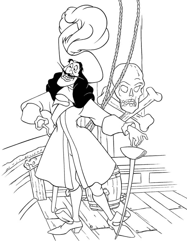 Peter Pans Enemy Pirate Captain Hook Coloring Page | Coloring Sky