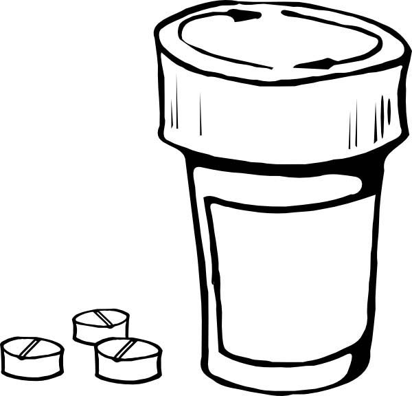 Pills and Bottle for Medical Help Coloring Page | Coloring Sky