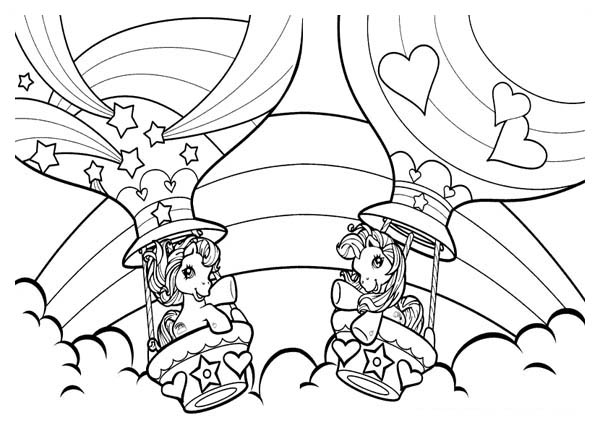 Pinkie Pie Fly with Gas Balloon in My Little Pony Coloring Page