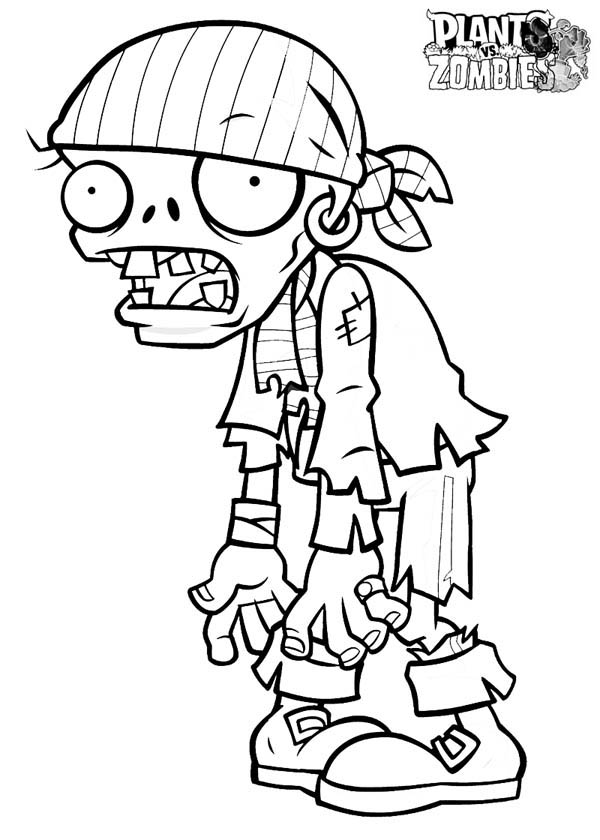 Pirate Zombie In Plant Vs Zombie Coloring Page