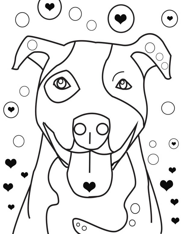 Pitbull is Falling in Love Coloring Page