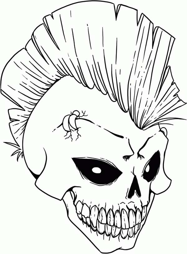 Punk Rock Skull Coloring Page