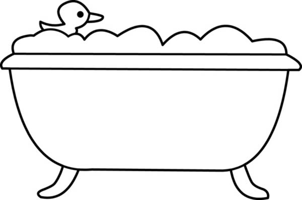 Rubber Ducky in Bathtub Coloring Page | Coloring Sky