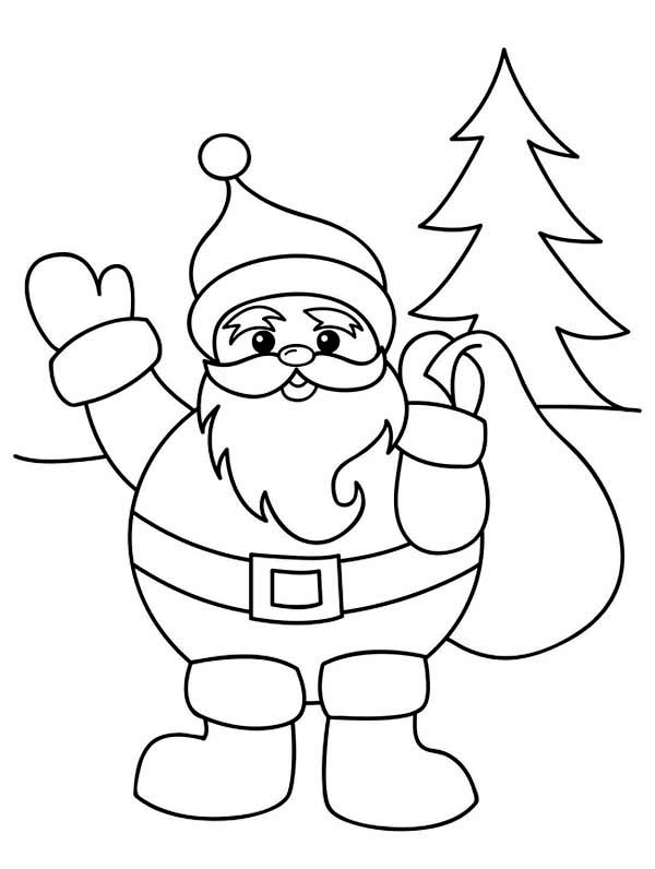 Santa Claus With Christmas Sack On His Back Coloring Page