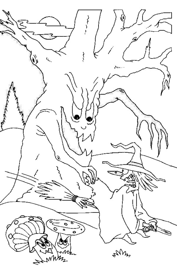 scary halloween tree coloring pages - photo#10