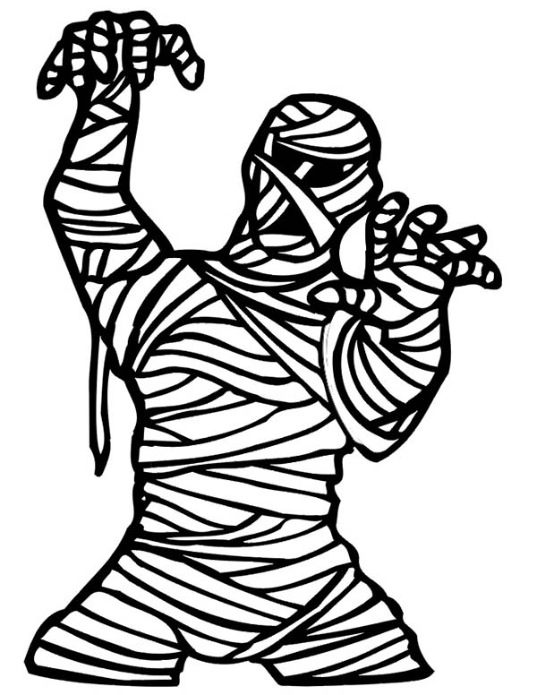 Scary Mummy Coloring Page Coloring Sky