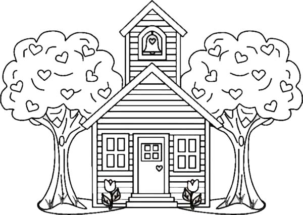 coloring pages old schoolhouse | School House Between Two Trees Coloring Page | Coloring Sky