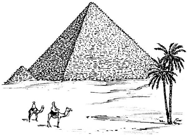 how to draw pyramid of giza