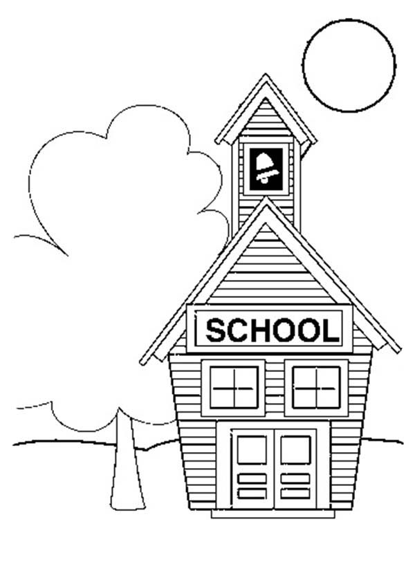 Small School House Coloring Page  Coloring Sky