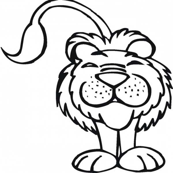 Smiling Lion At Safari Coloring Page