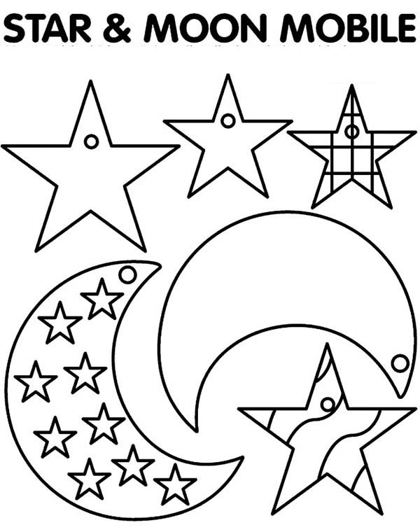 Star and moon mobile coloring page coloring sky for Moon and stars coloring pages