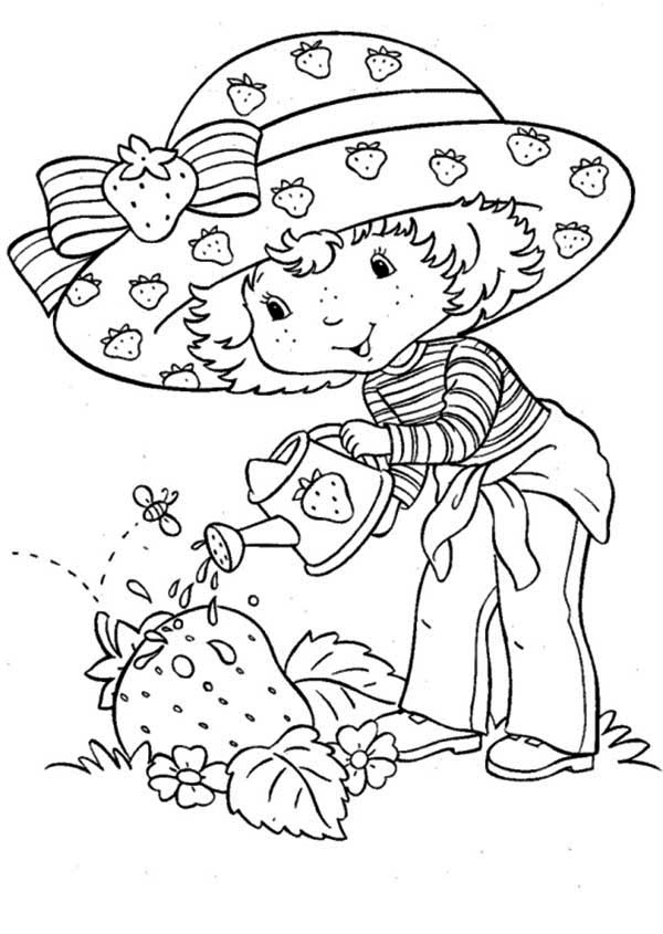Strawberry Shortcake Growing Giant Strawberry Coloring Page ...