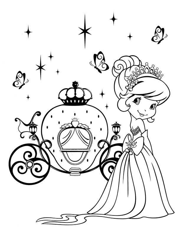 Strawberry Shortcake and Her Strawberry Carriage Coloring Page