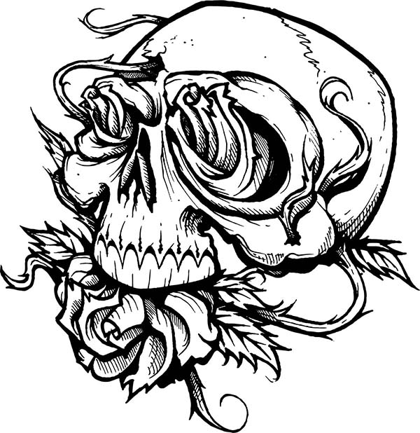 coloring pages of skulls and roses - skull roses coloring sky