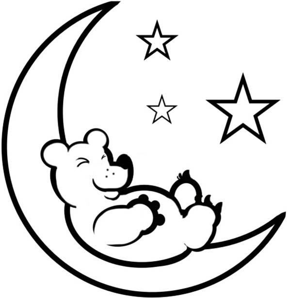 Teddy Bear Sleep on the Moon Coloring