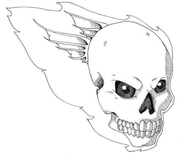 flaming skull coloring pages | Terrifying Flaming Skull Coloring Page | Coloring Sky