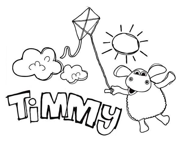 Timmy Playing Kite When Sun Shining Bright In Time Coloring Page