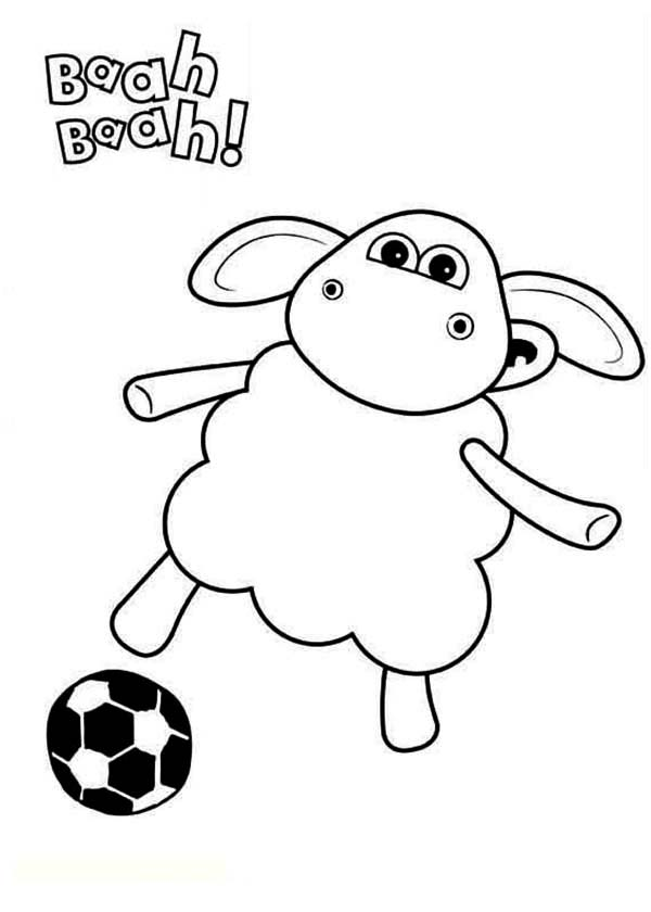 Timmy Time The Sheep Play Football In Coloring Page