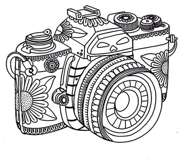 Tribal Camera In Photography Coloring Page