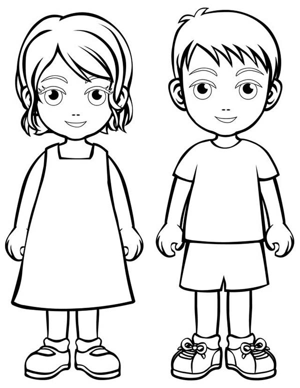 Two Children People Coloring Page | Coloring Sky