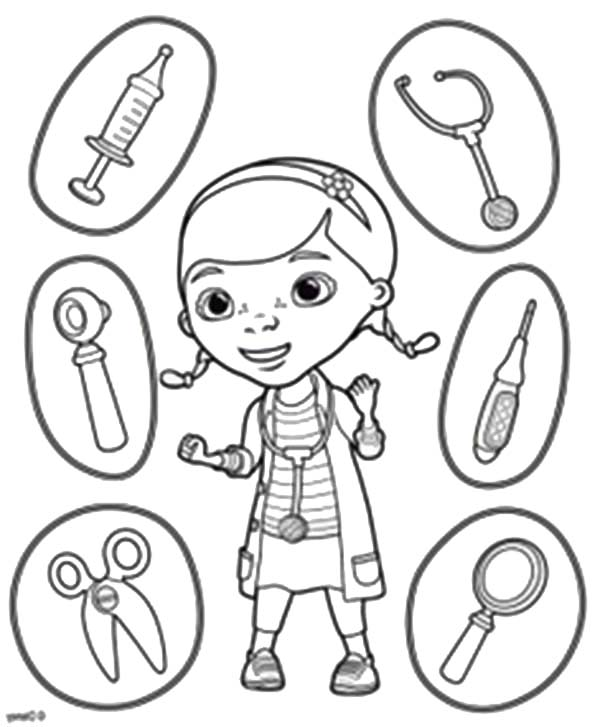 Various Medical Tools to Use Coloring Page | Coloring Sky