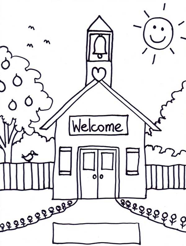 Welcome to School House Coloring Page Coloring Sky