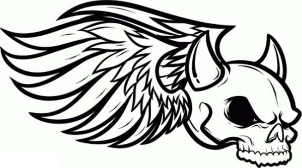 Winged Skull Coloring Page: Winged Skull Coloring Page – Coloring Sky