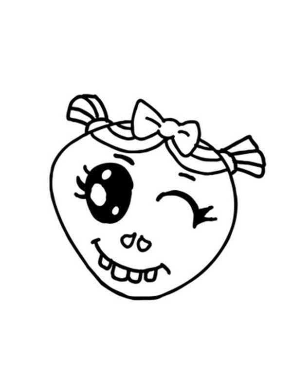 winking silly face coloring page
