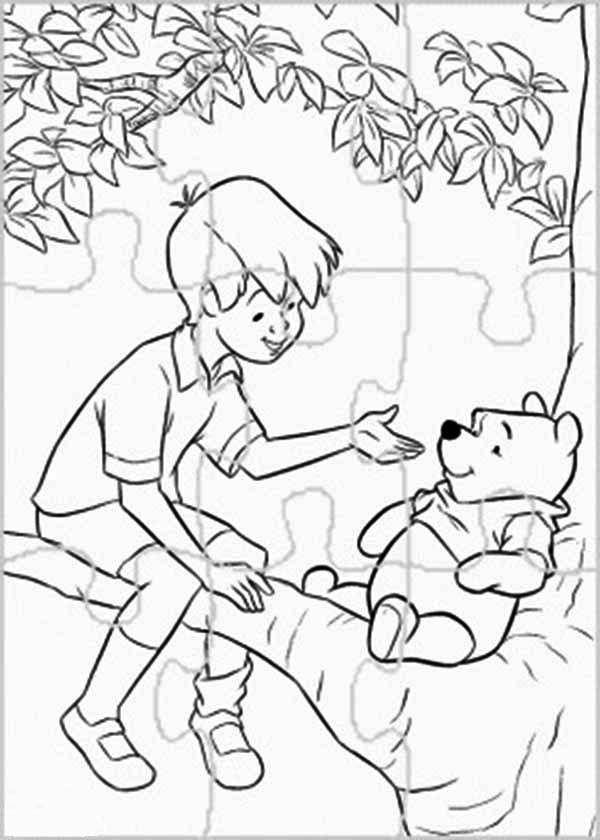 winnie the pooh puzzles coloring page