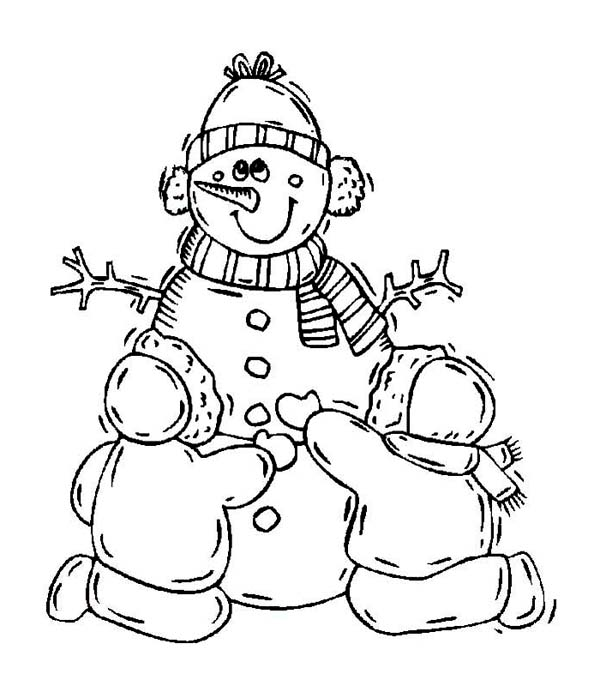 A Couple Of Childrens Making A Lovely Mr Snowman Coloring Page