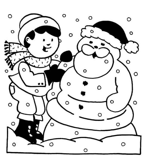 children dressing a mr snowman as santa on winter season coloring page - Snowman Coloring Pages For Kindergarten
