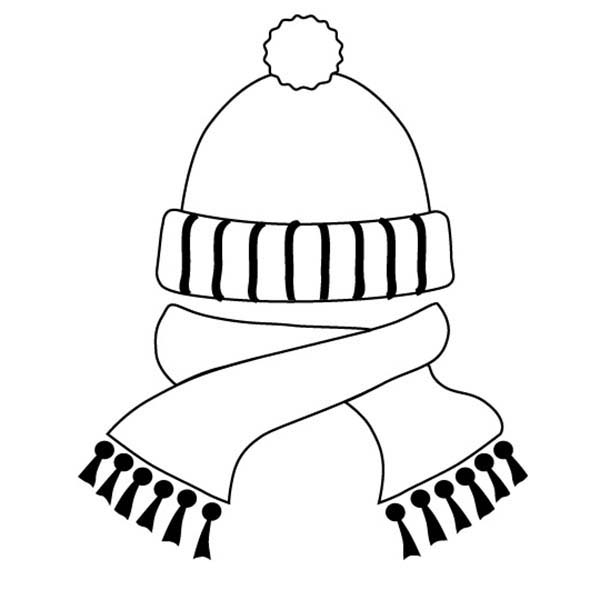 Hat And Scarf In Winter Season Coloring Page Coloring Sky