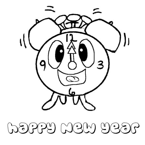 Hilarious Clock Greeting 2015 New Year Coloring Page | Coloring Sky
