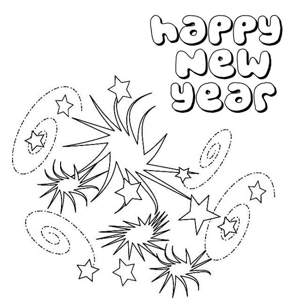 lovely new years eve firework on 2015 new year coloring page