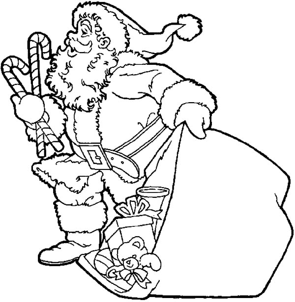 Santa Claus Bring Two Big Candy Cane Coloring Pages