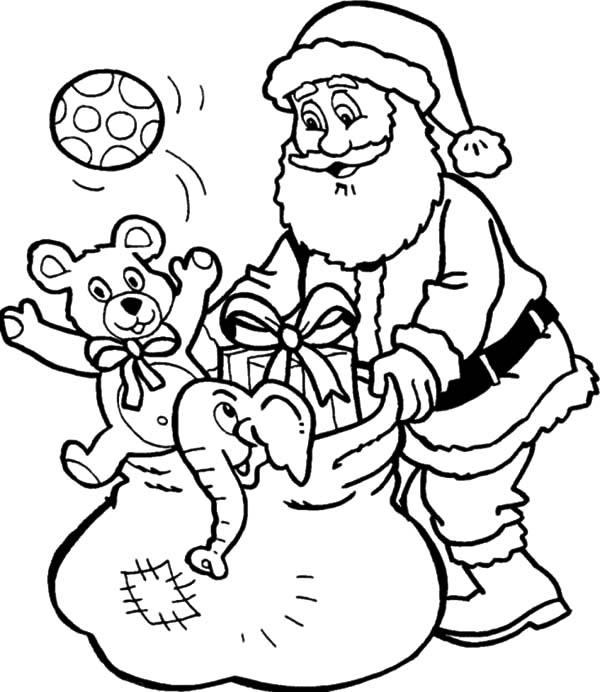 Santa Claus Checking Bag Full of Goodies Coloring Pages ...