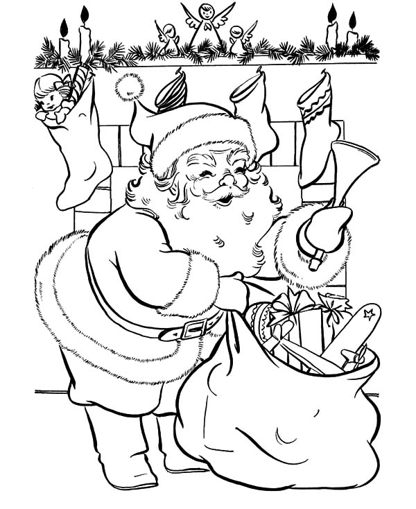 santa claus fill all sock with presents coloring pages