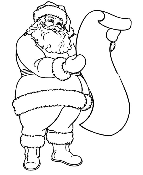 Santa Claus Read Kids Wish List Coloring Pages