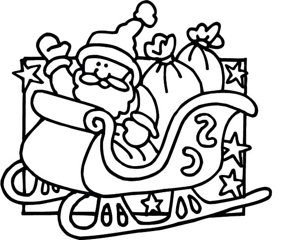 santa claus sitting on his sleigh coloring pages